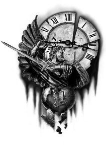 This is nice Time Piece Tattoo, Time Tattoos, Body Art Tattoos, Sleeve Tattoos, Tattoos For Guys, Tatoos, Tattoo Sketches, Tattoo Drawings, Archangel Michael Tattoo