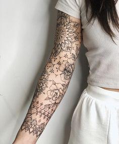 Lace Sleeve Tattoos, Feminine Tattoo Sleeves, Lace Tattoo, Feminine Tattoos, Black Girls With Tattoos, Ankle Tattoos For Women, Tattoos For Women Half Sleeve, Tattoos For Women Small, Women Sleeve