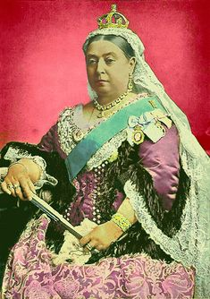 Queen Victoria- tinted photograph  Arbitrarily found this while looking for something completely different. I like the colours used, since they're unusually bright.
