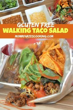 Walking Taco Salad is a classic, kid-friendly recipe. This is a go-to for a quick dinner night or feeding a crowd. These are also easy to make into gluten-free walking taco salads. Lunch Recipes, Easy Dinner Recipes, Beef Recipes, Easy Meals, Walking Tacos, My Best Recipe, How To Cook Quinoa, Kid Friendly Meals, Taco Salads