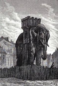 The elephant of the Bastille (1813-1846) was a monument in Paris originally conceived in 1808 by Napoleon. This colossal statue was supposed to be created out of bronze but only a plaster model was built at 24m (78ft) in height it became a recognisable construction and was immortalised by Victor Hugho in Les Miserables (1862) used as a shelter for Gavorche.