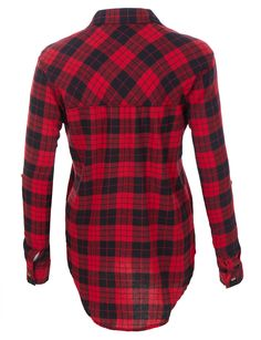 Women s Red Plaid Tapered Cut Button Down Flannel Shirt in 2019 ... af6774a8e0