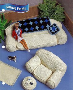 Sitting Pretty,  Fashion Doll Living Roon Furniture Annies Fashion Doll Crochet Club Patterns. $6.00, via Etsy.