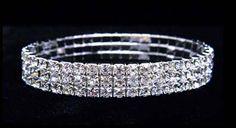 #11949 - 3 Row Stretch Rhinestone Bracelet - Crystal Silver