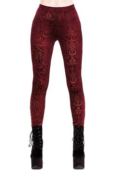 Saiph Burnout Velvet Leggings [WINE] | KILLSTAR Forge your spiritual bond with the butterflies of the night; the moth will evoke the mysteries of the occult in you.The dreamlike 'Saiph'leggingsare conjured of the softest lush velvet; with an intricate burnout paisley patternand moths.Elastic waist and classic fit. A statement piece you cannot get enough of!