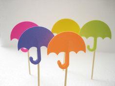 24 Bright Color Decorative Umbrella Toothpicks Party by BelowBlink, $3.50
