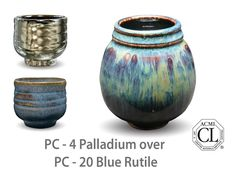 AMACO Potter's Choice layered glazes PC-20 Blue Rutile and PC-4 Palladium.
