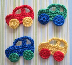 Crochet applique patterns-lots of diagrams!Crochet Car Appliques By Goldenlucycrafts On Etsy Car PictureAplique de Crochê em Carro - / Apply from Crochet at Car -Cardinal and Branch Crochet AppliqueCrochet kids room home decor ideas. Crochet Car, Crochet For Kids, Crochet Crafts, Yarn Crafts, Crochet Toys, Crochet Projects, Diy Crafts, Appliques Au Crochet, Crochet Motifs