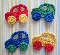 Crochet applique patterns-lots of diagrams!Crochet Car Appliques By Goldenlucycrafts On Etsy Car PictureAplique de Crochê em Carro - / Apply from Crochet at Car -Cardinal and Branch Crochet AppliqueCrochet kids room home decor ideas. Crochet Car, Cute Crochet, Crochet For Kids, Crochet Crafts, Yarn Crafts, Crochet Toys, Crochet Projects, Diy Crafts, Appliques Au Crochet