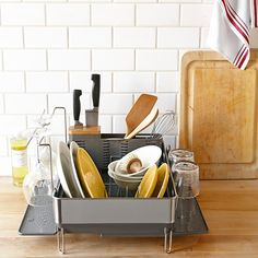 Simplehuman™ steel frame dish rack with wine glass dryer from Williams Sonoma.