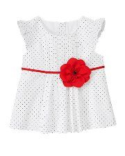 Janie and Jack Vintage Bloom Rosette Pindot Top