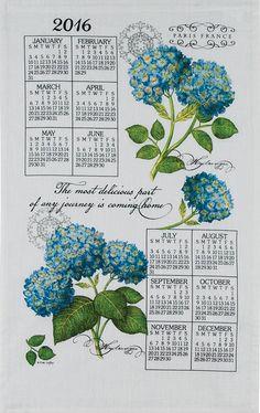2016 Blue Hydrangea Linen Calendar Towel