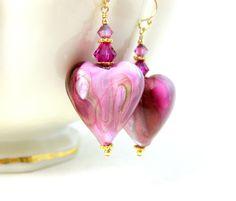 Pink Heart Earrings, Valentine's Day Earrings, Murano Earrings, Heart Jewelry, Romantic Earrings Pink Gold Glass Earrings Gift for Her Adore by GlassRiverJewelry on Etsy https://www.etsy.com/listing/215777821/pink-heart-earrings-valentines-day