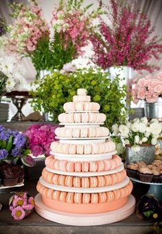 Sweet Violet Bride - http://sweetvioletbride.com/2013/11/10-wedding-cake-alternatives/ 2. French Macaroon Tower A pretty and more refined alternative to the cupcake tower. We love this peach to pink ombre color scheme. You could also substitute with other cookie favorites that are easily stacked on their side – think Oreos, or even whoopie pies.