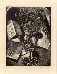 """Bouquet"" by Paul Nash, 1927 (woodcut)"
