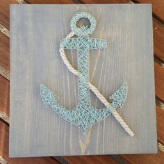 Anchor String Art / Mixed Media Home Decor by CinnSugarSpice Sea Theme Bathroom, Anchor String Art, Diy And Crafts, Arts And Crafts, Girls Camp, Mixed Media Art, Wood Art, Baby Shower Gifts, Mason Jars