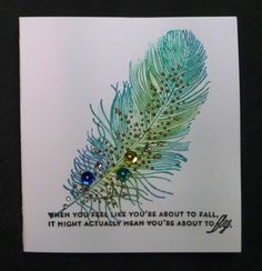 WT463 Cool-toned Feather by hobbydujour - Cards and Paper Crafts at Splitcoaststampers Papertrey Ink Feathers
