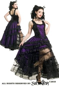 Purple Satin Ribbon Laceup Fishtail Dress by Sinister
