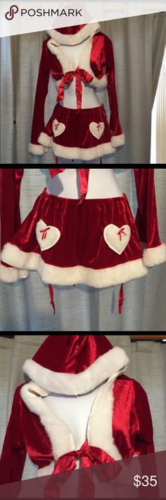 NWOT. Cutie Claus Costume with Candy Cane Tights NWOT. Cutie Claus Costume with Candy Cane Tights. Includes hooded for front crop top, gartered skirt, and candy cane tights. Size M/L Leg Avenue Other