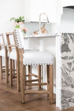 French Striped Chairs With Nailhead Trim Muse Interiors