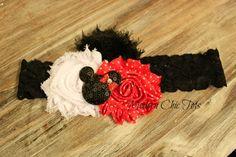 Minnie Mouse Shabby Flower Headband