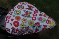 Fahrradsattelbezug regenfest mit Schmetterlingen und Blumen