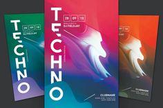 Flyer Design Templates, Flyer Template, Techno, Techno Music