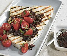 Swordfish with Black Olive and Mint Tapenade