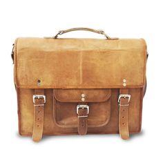 "15"" Retro Style Leather Satchel Bag, Cross Body Shoulder Office Bag, Messenger Laptop Bag"