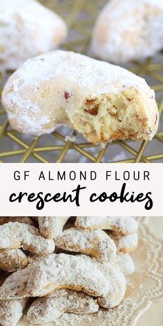 Gluten-Free Almond Flour Crescent Cookies These gluten-free almond flour crescent are a healthy take on my nanny's recipe. Each cookie only has about 60 calories and 2 grams of sugar plus they can easily be made Gluten Free Almond Cookies, Almond Flour Cookies, Gluten Free Deserts, Almond Flour Recipes, Gluten Free Sweets, Foods With Gluten, Dairy Free Recipes, Almond Flour Desserts, Almond Flour Biscuits