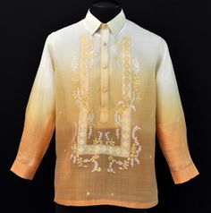Monochromatic Matte Gold Barong possibly for the groomsmen