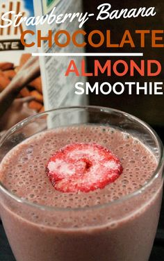 Strawberry Banana Chocolate Almond Smoothie - Not Quite a Vegan Breakfast Smoothies, Smoothie Drinks, Fruit Smoothies, Healthy Smoothies, Healthy Drinks, Smoothie Recipes, Blender Recipes, Almond Smoothie Recipe, Healthy And Unhealthy Food