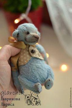 Купить Локи медведик - голубой, бежевый, teddy bear, teddy, мишка, авторская игрушка, миник