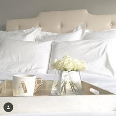Another peek from the bedroom makeover from @allycog - clean, crisp white sheets & pillows - can't go wrong!