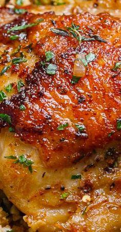Buttery Garlic Herb Chicken & Lemon Parmesan Cauliflower Rice