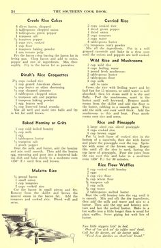 The Southern cook book of fine old recipes Retro Recipes, Old Recipes, Vintage Recipes, Cookbook Recipes, Rice Recipes, Cooking Recipes, Family Recipes, Recipies, Rice Dishes