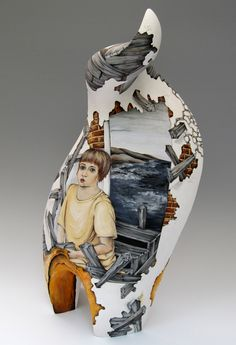 I Can Fix It, coil built stoneware, hand-painted with underglazes, 22x9x8 in