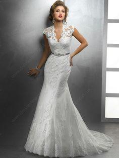 Trumpet/Mermaid V-neck Lace Satin Chapel Train White Buttons Wedding Dresses -£205.0