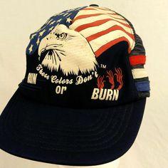 American Flag Eagle Colors Dont Run or Burn Trucker Hat Ball Cap Mesh Snapback #Haband #TruckerHat