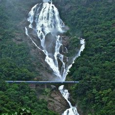 Dudhsagar waterfalls are placed in the locale of Sanguem in Goa . It lies at the separation of 60 km from Margao close to the Goa Karnatak. Beautiful Places In The World, Places Around The World, Around The Worlds, Wonderful Places, Goa India, India Pic, Beautiful Waterfalls, Beautiful Landscapes, Places To Travel
