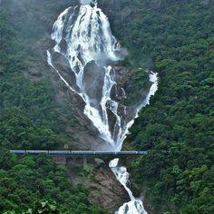 Incredible India @ Dudhsagar Waterfalls ♥ This waterfall is on the Goa-Karnataka border.    Click Like & share :)