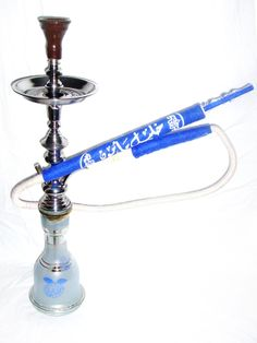 Buy Blue KM Khalil Mamoon Shisha Pipe Cafe Style | long Blue KM Handle
