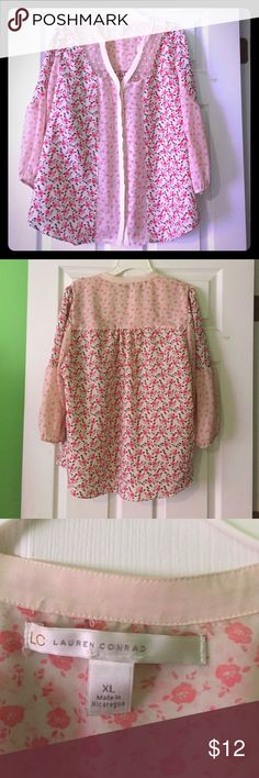 Delicate flowered blouse Pretty pastel pink and beige sheer rose design blouse. Gently worn. Lauren Contad Tops Blouses