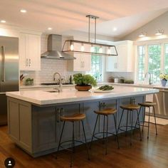 kitchen remodel with island \ kitchen remodel ; kitchen remodel on a budget ; kitchen remodel before and after ; kitchen remodel with island ; Modern Farmhouse Kitchens, Farmhouse Kitchen Decor, Home Decor Kitchen, Diy Kitchen, Cool Kitchens, Kitchen Dining, Kitchen Ideas, Kitchen Cabinets, Soapstone Kitchen
