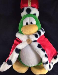 "Club Penguin King Roi Disney Store Green Red Cape Crown Plush No Code Coin 9"" | eBay"