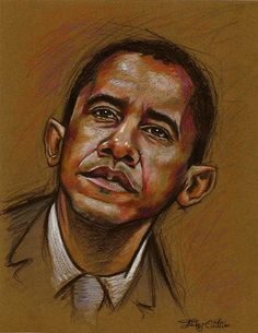 A drawing of Obama for J'adore magazine, just in case someone had any doubts about my political affiliation. Colored pencil on toned paper. by whyamitheconvict on DeviantArt. Barack Obama History, Barack Obama Family, Barrack And Michelle, Michelle Obama, Black Presidents, American Presidents, Presidents Birthdays, Obama Art, Obama Portrait