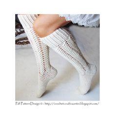 Aran Cabled knee-socks Crochet Pattern by PdfPatternDesign