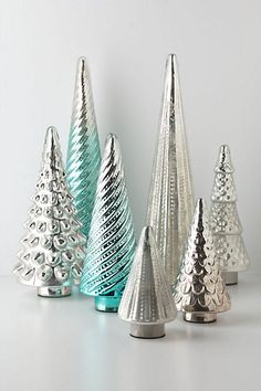 antique turquoise and silver glass trees holidayentertaining silver christmas decorations silver christmas tree - Antique Silver Christmas Decorations