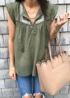 #summer #outfits Khaki Top + Destroyed Skinny Jeans + Camel Tote Bag // Shop this outfit in the link