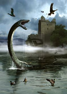 On August 565 St Columba reported seeing a monster in Loch Ness. It was the first reported sighting of the monster. The loch Is Scotland's second largest loch by surface area after Loch Lomond, but due to its great depth, it is the largest by volume. Fantasy Creatures, Mythical Creatures, Monstre Du Loch Ness, Lago Ness, St Columba, Dragons, The Loch, England And Scotland, Sea Monsters